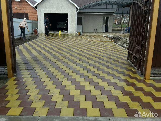 Дизайн брусчатки во дворе дома фото Технология укладки тротуарной плитки своими руками