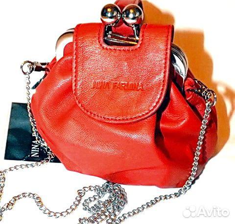 b80aa618460e Женская кожаная сумка Nina Farmina mini bag red купить в Москве на ...