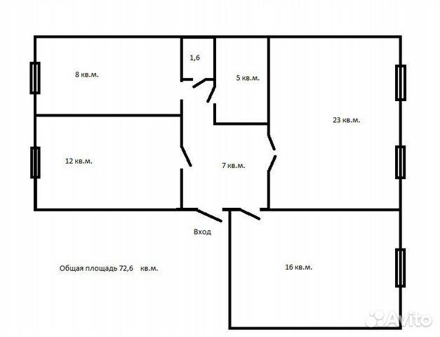 3-к квартира, 73 м², 2/3 эт.