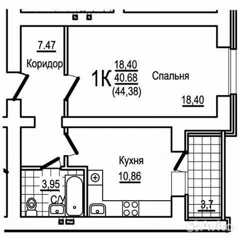1-к квартира, 44.4 м², 8/10 эт.