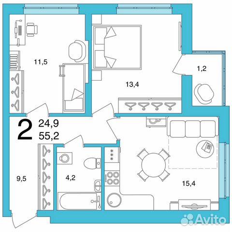 2-к квартира, 55.2 м², 2/25 эт.  купить 2