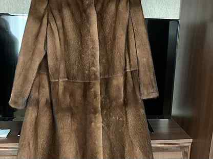 Шуба норковая с капюшоном 60 размер