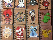 Значки деревянные ручной росписи